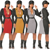 Contrasting color ladies dress ribbed autumn and winter zipper skirt (including belt) YY5227
