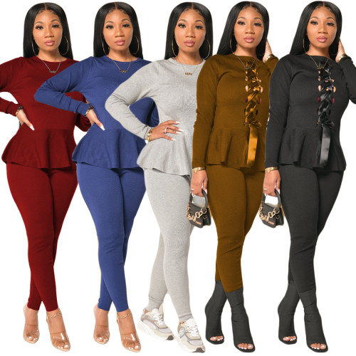Fashionable European and American Womens bandage positive and negative two-piece suit autumn and winter hot sale Womens trousers long sleeve two-piece suit YY5228