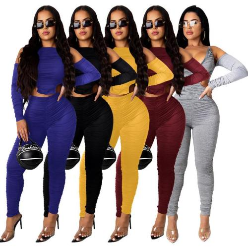 Fashion casual pleated solid color reversible jumpsuit W8337