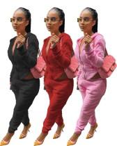 Pure color plush zipper hooded suit W919