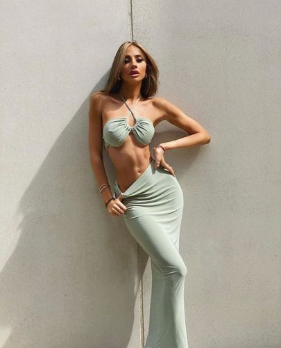 Womens sexy fashion three ways to wear hanging neck tube top dress two-piece suit SUM2521A
