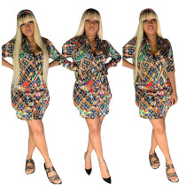 Womens clothing digital printing sexy shirt skirt dress with belt YSF2284