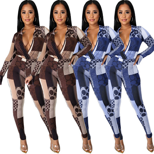 Sexy Womens nightclub clothing geometric print split horn sleeve two-piece suit GL6309