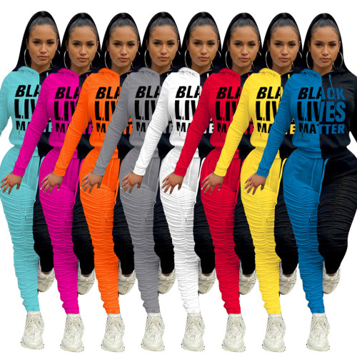 Offset printing stitching pleated pants fabric thickened sports suit NK184