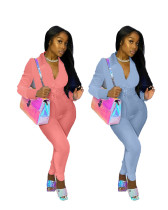 Womens clothing solid color fashion casual two-piece suit TC038