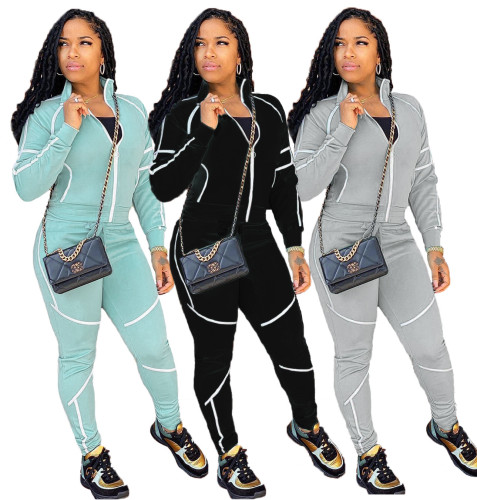 Womens leisure solid color sports suit long sleeve two-piece suit TC037