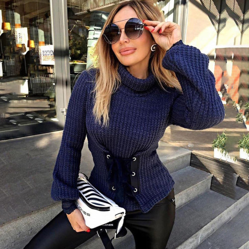 Womens lace-up waist half high neck lantern sleeve fashion street shooting solid color T-shirt K20L09155