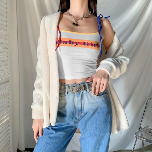 Womens fashion contrast color lace-up slim letter print short vest K20B08958