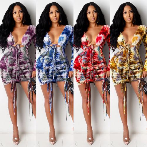 Temperament Commuter Bandage High Waist Halter Drawstring Long Sleeve Imitation Cotton Ladies Dress XZ3700