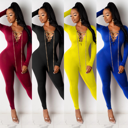 Sexy V-neck chain cross tie long-sleeved skinny Womens jumpsuit XZ3698