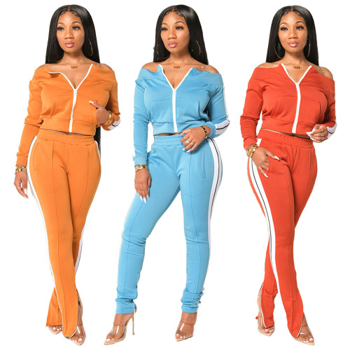 One-shoulder split trousers sexy Womens fashion casual suit H1557