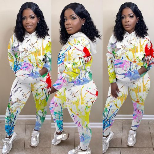 Two-piece printed sports and leisure suit MTY6351