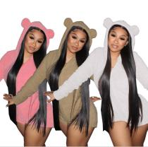 Autumn and winter fashion cute home wear double-faced fleece jumpsuit DN8549