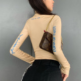 Long-sleeved high-neck fashion print sexy tight bottoming bodysuit P1736262