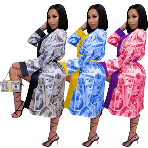 Womens Sexy US Dollar Loose Pajamas Home Wear Dress Jacket Skirt SDD9336