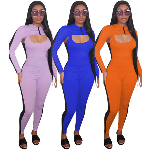 Long-sleeved shawl sexy two-piece mesh jumpsuit YMT6178
