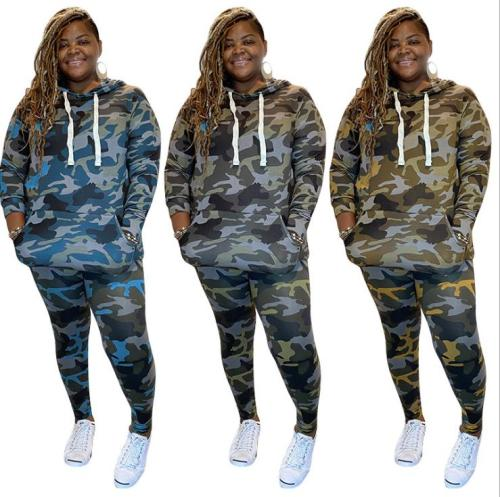 Camouflage printed knitted fashion casual suit plus size two-piece Womens suit OSS20935