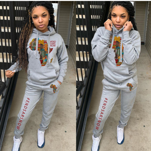 Womens fashion casual sweater hooded sports two-piece suit TY1886