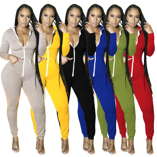 Sexy Womens autumn and winter hot style long-sleeved pockets ladies slim-fit jumpsuit one-piece pants KZ187