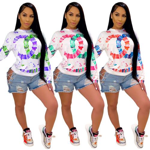 Fashion autumn print long sleeve ladies sweater ML7388