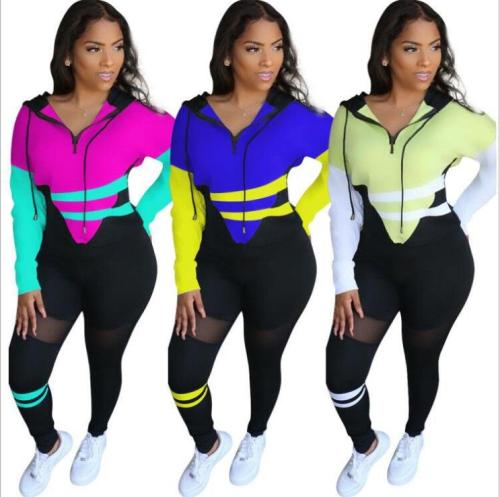 Womens cute sports and leisure color matching two-piece suit S6239