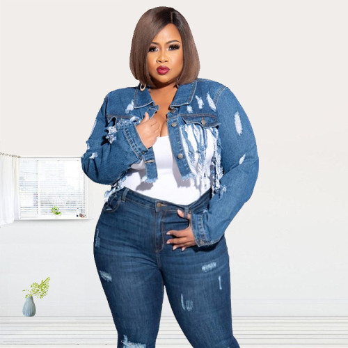 Ripped washed fringe halter back and belly button sexy short plus size Womens denim jacket OSS19443