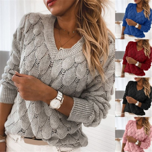 Sweater Three-dimensional knitted feather hollow V-neck long-sleeved sweater women BLH5318
