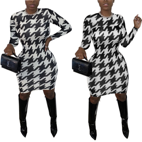 Womens sexy tight-fitting personalized printed dress C3033