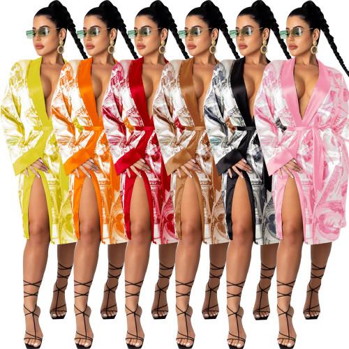 Cardigan print tie long coat temperament jacket nightclub clothes KA7139