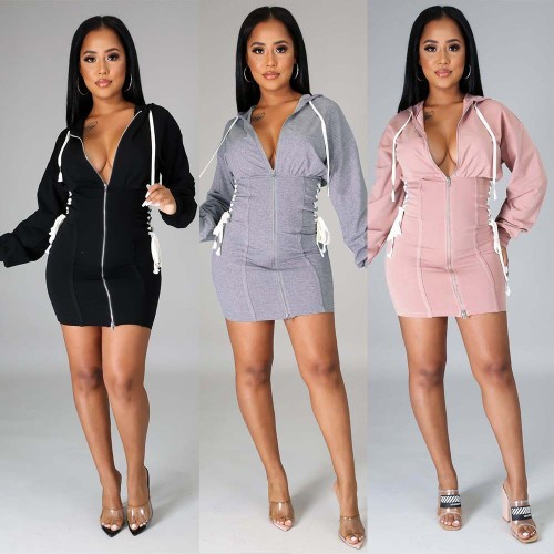 Zipper waist tie hoodie dress nightclub clothes KA7138