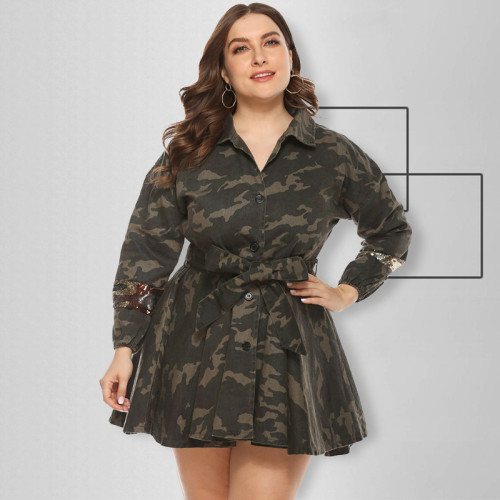 Jacket woven camouflage and sequin umbrella skirt with belt OSS19456