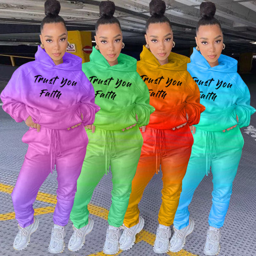 Gradient color positioning letter printed sweater fabric casual hooded sweater two-piece suit LSN778