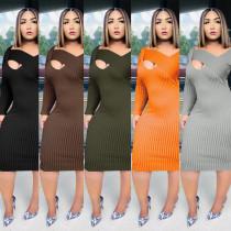 Temperament commuter Womens long-sleeved dress nightclub clothes KA7141