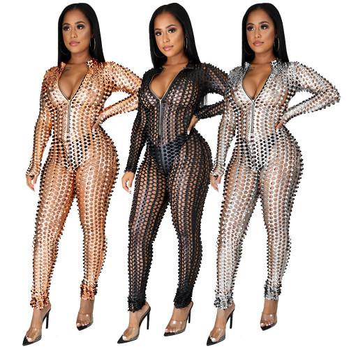 Sexy nightclub s zipper small high neck jumpsuit MA6638