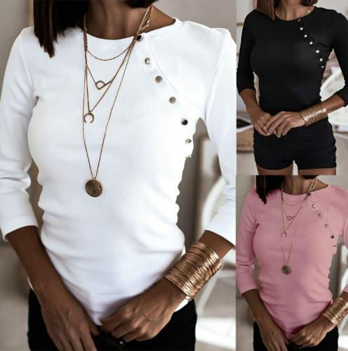 Top Features bevel button round neck slim solid color all-match top ZC3847