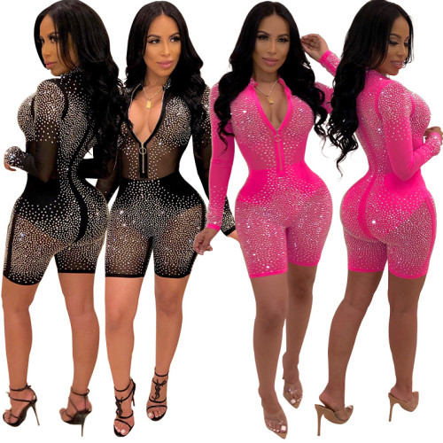 s hot drilling mesh sexy long-sleeved jumpsuit XZ3243