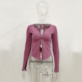Long sleeve threaded zipper cardigan top T-shirt women YB9083