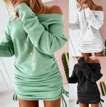 Autumn dress, big round neck, long-sleeved drawstring, strapped hip dress ZC3840