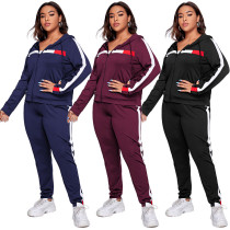 Plus size s autumn and winter fashion casual stitching sports hooded zipper jacket trousers suit SN2125