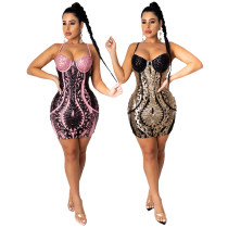 Sexy suspenders sequined V-neck party dress women CCY8794