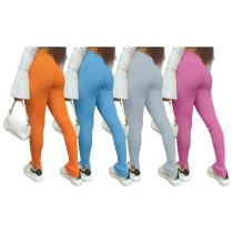 Winter Womens mid-waist slim-fit split-fitting sexy cotton pants H1560