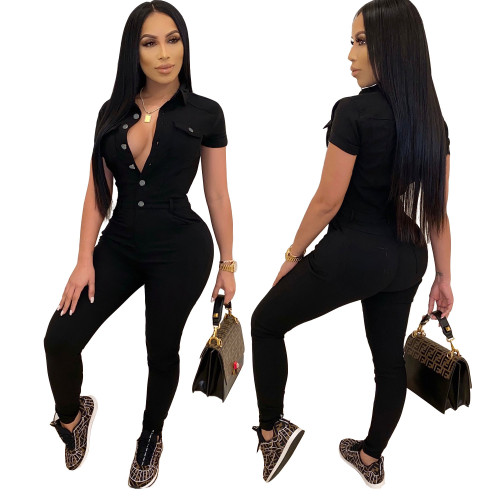 Fashion casual slim slimming jumpsuit high stretch jeans with small feet JLX8904