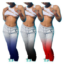 Fashion sexy gradient elastic high waist pleated drawstring casual pile pants H1562