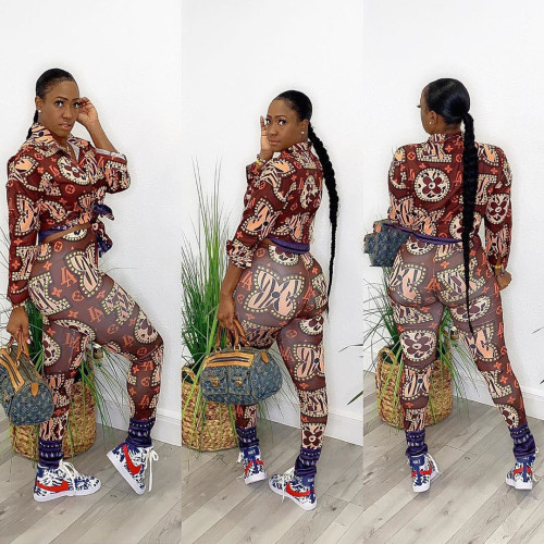 Womens fashion casual printing two-piece suit JH202