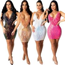 Sequin sling tassel A-line dress nightclub high-end sexy bare chest CCY8218B