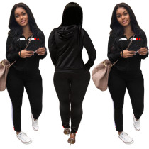 Simple fashion casual stitching sports hooded zipper jacket trousers suit SN2058