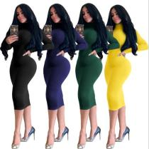 Dress sexy high-necked dress, fetching thickened slim fit hip skirt WMZ2589