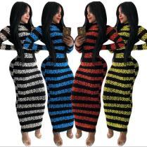 Net red printed zipper two-sided dress WMZ2580
