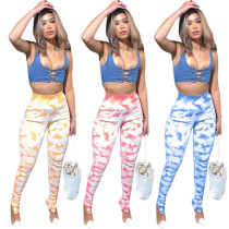 Printed zipper sports pants Q1057
