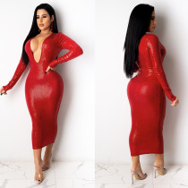 Womens Deep V Micro-elastic Long Sleeve Slim Fit Mid-length Dress K2064